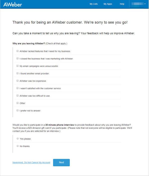 Como cancelar conta da AWeber