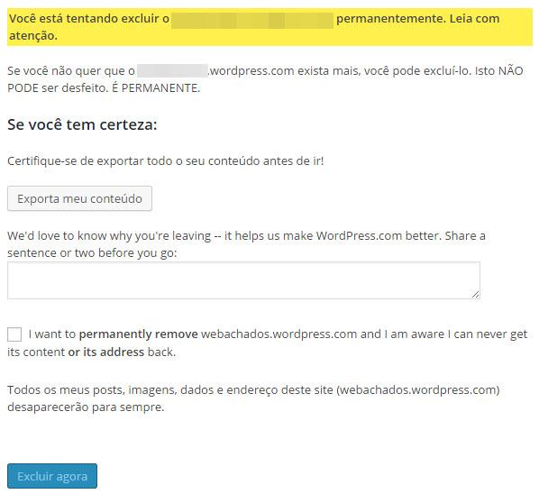 Como excluir um blog do WordPress.com