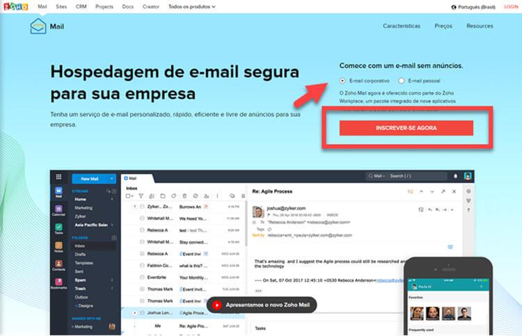 Como usar Zoho Mail com domínio próprio