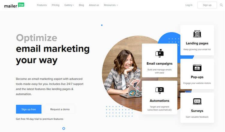 Serviços grátis de email marketing - Mailerlite