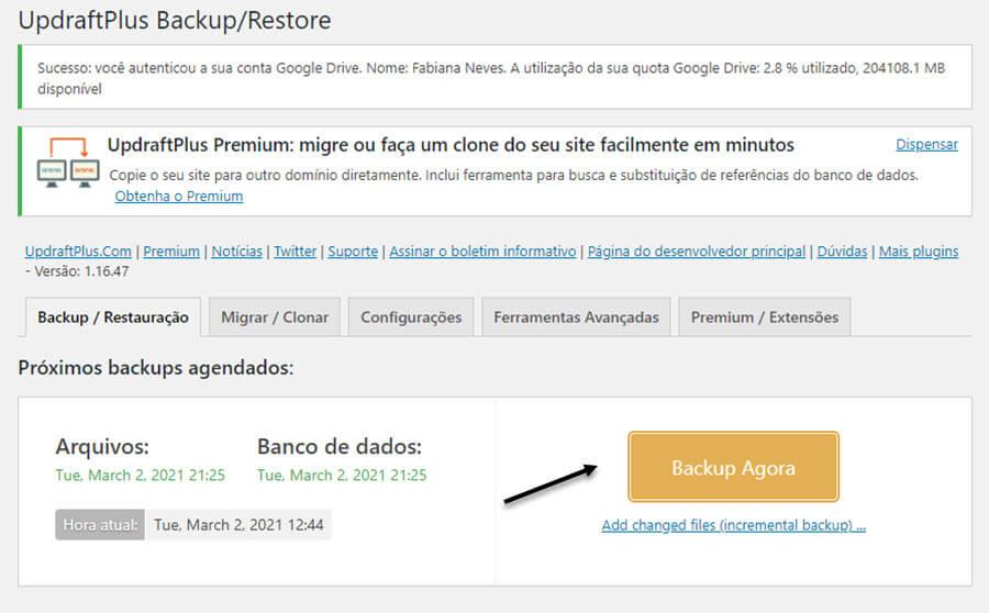Fazer backup do blog WordPress