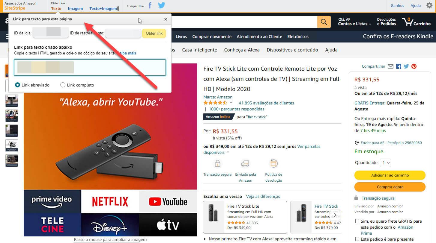 Como ser um afiliado Amazon - Site Stripe
